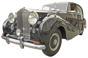 The antiquarian car isolated over white with clipping path.