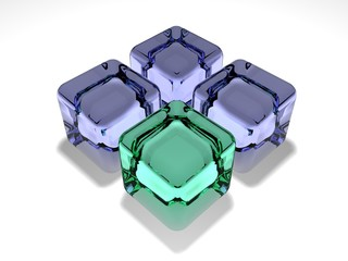 Glass green cube about glass blue cubes on a white background