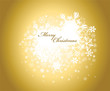 Golden christmas background with white snowflakes