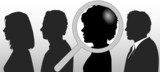 Magnifying Glass Chooses Silhouette Person in People Row poster
