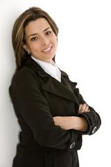 Confident business woman in a black suit