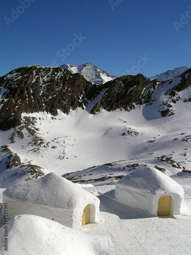 Two igloos in the mountains
