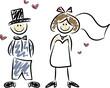 Witziges Hochzeitspaar, handgezeichnet