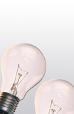 One electric lamp on  smooth surface on  grey background poster