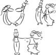 Witziges Hochzeitspaar in unterschiedlichen Posen
