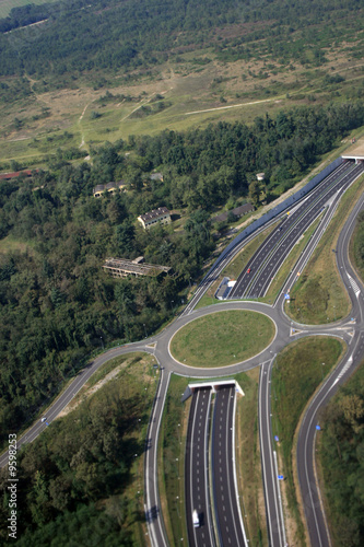 An intersection above an Italian Autostrada near Milano, Italy.
