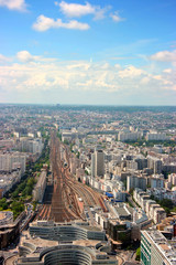 Aerial vertical view of Montparnasse railway station, Paris