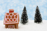 Gingerbread house with an evergreen tree on snow poster