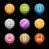 Color circle web icons, set 16 poster