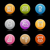 Color circle web icons, set 19 poster