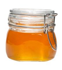 Honey jar, isolated, on white background