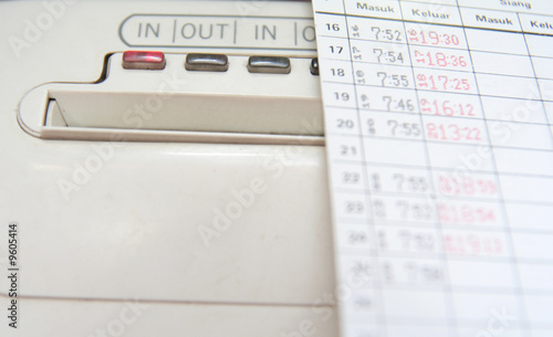 Leinwanddruck Bild punch clock and card