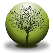 vector environmental conservation - tree and green sphere