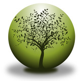 vector environmental conservation - tree and green sphere poster