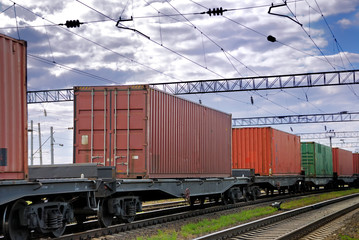 The train transports containers