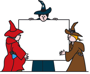 three witches with sign