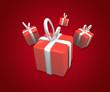 cadeaux sur fond rouge