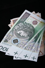polish currency, banknotes, zloty