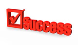red success word and tick sign on white background, poster