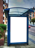 bus stop with blank bilboard HDR 02 poster