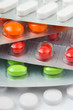 Packs of pills, abstract medical background