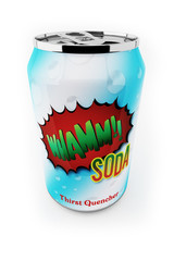 Fictional soda can up close over white background