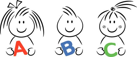 Cartoon-Kinder halten Buchstaben (ABC) in den Händen