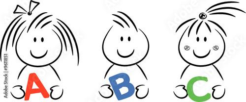 Cartoon kinder halten buchstaben abc in den händen