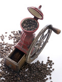 Fototapety Red cast iron, hand-cranked, antique Spanish Coffee Mill