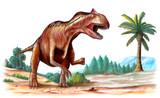 Allosaurus, jurassic era predator. poster