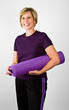 Physically Fit Senior Baby Boomer Women With Yoga  Polaties Mat
