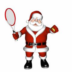 Santa Playing Tennis. Holding his racket and ball.