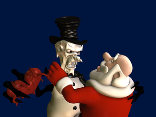 An evil snowman taking Santa's heart