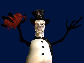 An upset snowman with an evil melting face gripping a heart