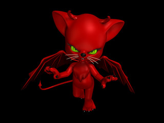 Red Devil Cat with horns, wings, and a tail, flying.
