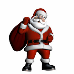 Santa carrying a bag of gifts over his shoulder.