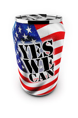 Motivational and patriotic aluminum can saying yes we can