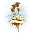 tropical island insignia with banner for your text