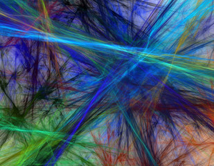Abstract fractal of colored string/paint.