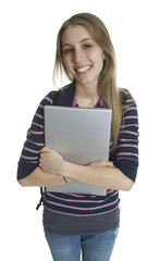 Isolated Attractive Female Student with Laptop