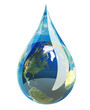 Water droplet with the earth in it. - 9615656