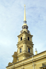 Tall church in Petropavlovskaya krepost, St-Petersburg, Russia