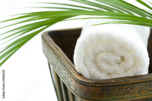Spa Bath Towel and palm leaf in wooden bowl - 9616239