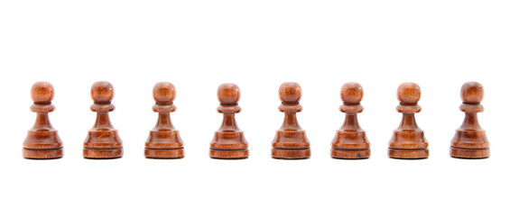 people waiting in line concept - chess figures isolated