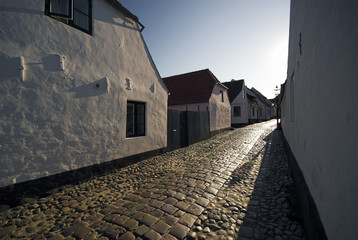 Narrow old cobblestone road in old town Ribe, Denmark