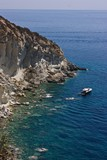 Sea view from  Ponza island at boat and rocks