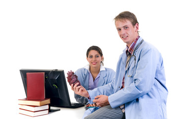 Medical team, two young male and female cardiologist