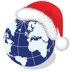 Globe with Santa's hat. Vector illustration