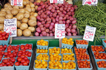 Locally grown, fresh, produce at an outdoor farmer's market