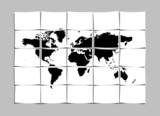 World Map Concept of Separated Note Papers Abstract Background poster